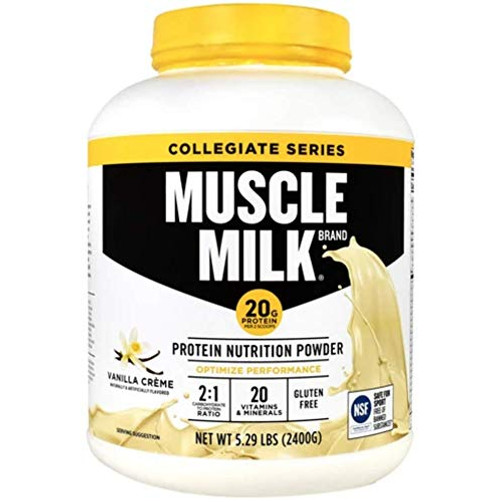 Brand: Muscle Milk  Features:  Collegiate Ratio Compliant. 500 mg Aminogen Aids in protein digestion 40 g Protein less than 30% calories 0 g Trans fatty acids 99% Lactose free  Publisher: Cytosport  Details: Collegiate Ratio Compliant. 500 mg Aminogen Aids in protein digestion. 40 g Protein less than 30% calories. 0 g Trans fatty acids. 99% Lactose free.