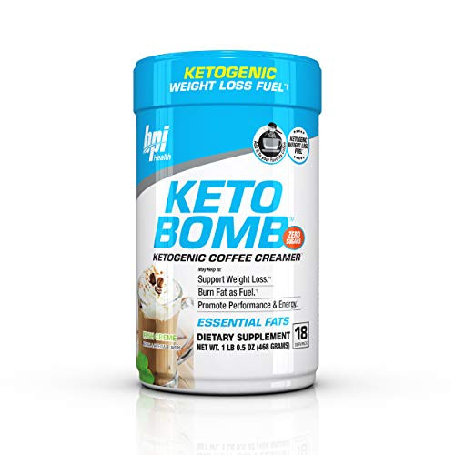 Brand: BPI Sports  Features:  First-Ever Ketogenic Coffee & Tea Creamer - Simply Add One Scoop to Your Coffee, Tea or Favorite Beverage for an Easy, Great-Tasting Way to Get Your Daily Fat Intake. No Additives, Zero Sugar & Low Carb It's the perfect drink for the ketogenic diet and low carb meal plans. No fillers, that can take you out of the ketosis process you can rest assured to add this amazing tasting creamer to your Coffee every morning. Includes Medium Chain Triglycerides (MCTs) MCT Oil Powder - MCTs are Shorter Chain Fats That Your Body Can Readily Use as a Fuel Source While on a Ketogenic or Low-Carb Diet. Ideal for Ketogenic Diets - A Ketogenic Diet is a High-Fat, Moderate Protein and Very Low-Carb Meal Plan That Forces Your Body to Burn Fat for Fuel. KETO BOMB is a Delicious Way to Get the Fats You Need to Keep Your Body in Ketosis. Includes Saffron Extract - Traditionally Used to Support Appetite Control, Some Early Research Also Suggests That the Chemical Croce tin From Saffron May Decrease Fatigue During Exercise.  Publisher: BPI Health  Details: KETO BOMB is a delicious creamer designed for those looking to enhance weight loss and performance. KETO BOMB was designed for those that are following a ketogenic or low carb diet and are looking to accelerate fat burning. Simply add one scoop to your favorite coffee or tea to support weight loss and burn fat for fuel. Utilizing a blend of electrolytes, MCTs and other good fats, KETO BOMB is designed to fuel your body and brain. With delicious flavors like French Vanilla Latte and Caramel Macchiato and zero sugars, KETO BOMB will help boost energy and blast fat. Suggested Use-Add one (1) scoop to your coffee, tea or favorite beverage, or as directed by a qualified healthcare practitioner. Major Benefits: Support Ketosis Process Ketogenic Diet Approved Appetite Control Support Healthier Metabolism Increased Energy Levels Supports Weight Loss with Diet & Exercise Increased Focus & Attentiveness  Release Date: 25-09-2018