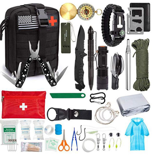 Brand Name: FEELWIND Type: First Aid Kits  Why You Need a Survival Kit?  You never know when you get into an unexpected emergency situation. Either in the wilderness or trapped in your car or like hiking, camping, then an emergency survival kit can be a lifesaver with military knife, compass, whistle, emergency blanket and so on.  Why Choose Our Survival Gear Kit?  √ 47pcs in Total - Come with all accessories you need in any emergency situations  √ More practical survival gears instead of useless accessories  √ Molle Pouch instead of plastic storage bag  √ Upgraded Folding Knife - folded 4.9'', others 3.4''  √ Survival Tools + First Aid Kit + Fishing Tools  Military MOLLE System Compatible  Made of military grade high-density 600D nylon, water-resistant & anticorrosion, sturdy & durable & comfortable, Perfect companion for any outdoor activities!  Comes with 1 US flag patch+1 red cross first aid patch.    A Complete Set of Emergency Survival Kit  This is an amazing high-quality survival emergency first-aid ALL-IN-ONE kit, a truly meaningful Holiday/ Birthday Gift Idea for Boyfriend, Husband, all family members, and your loved ones!    First Aid Kit  Someone got hurt? No need to panic! Your emergency kit includes 10 band aids and 8 alcohol prep pads, so you can sterilize and protect any wound.  【4 in 1 Pouch】  1x Tactical Molle EMT Pouch ------ 1x American Flag Velcro Patch ------ 1x Red Cross Velcro Patch ------ 1x First Aid Booklet  【28 Pcs Survival Tools】  1x 15 in 1 Folding Pliers ------ 1x Tactical LED Flashlight ------ 1x Tactical Folding Knife ------ 1x 4-in-1 Camping Utensils  1x Tactical Defense Pen ------ 1x Stainless Steel Saber Card------ 1x Paracord Survival Bracelet------ 1x Compass  1x Wire Saw ------1x Scraper------ 1x Emergency Whistle ------1x Pocket Bellow ------2x Carabiner  1x 32.8ft Parachute Cord ------ 1x Emergency Mylar Blanket ------ 1x Disposable Rain Ponchos ------ 1x Tactical Water Bottle Buckle  1x Fishing Lines ------ 2x Fishing Hooks -