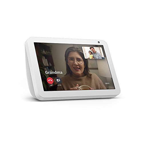 "Brand: Amazon  Color: Sandstone  Features:  Alexa can show you more - With an 8"" HD screen and stereo sound, Alexa can help manage your day at a glance. Connect with video calling and messaging - Call friends and family who have the Alexa app or an Echo device with a screen. Make announcements to other devices in your home. Be entertained - Ask Alexa to show you movie trailers, TV shows, movies, or the news. Or listen to radio stations, podcasts, and audiobooks. Control your smart home - Voice control compatible devices or manage them on the easy-to-use display. Ask Alexa to show you security cameras, control lights, and adjust thermostats. Make it yours - Show off your albums from Amazon Photos. Customize your home screen. Create morning routines to start your day. Made to fit your life - Cook along to step-by-step recipes with Food Network Kitchen. Easily update to-do lists and calendars. Glance at weather and traffic on your way out. Designed to protect your privacy - Electronically disconnect the microphones and camera with one press of a button. Slide the built-in shutter to cover the camera.  Publisher: Amazon  Details: Echo Show 8 connects to Alexa to give you rich stereo sound with vivid visuals on an 8"" HD screen. See on-screen lyrics with Amazon Music. Set alarms and timers. Display your favorite photos.  Release Date: 21-11-2019"