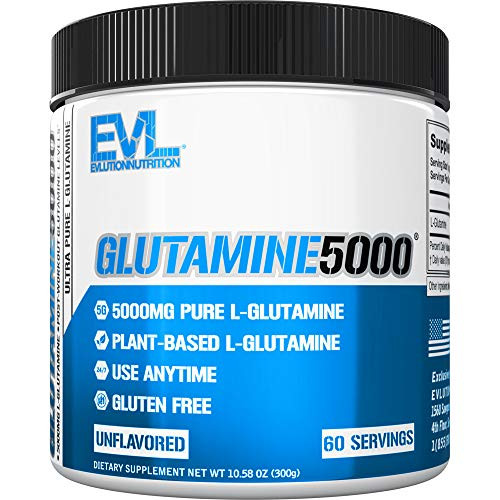 Brand: Evlution  Features:  GET MORE WITH YOUR GLUTAMINE | Fuel your body with Evlution Nutrition Glutamine5000, containing 5 grams of Ultra Pure L-Glutamine that supports a variety of essential functions to keep your body running strong. FAST WORKOUT RECOVERY | L-Glutamine is one of the major amino acids involved in muscle synthesis, which means that the body is actively using it to repair injured or damaged muscle tissue. This makes it the ideal supplement to take to shorten recovery time, boost muscle mass, or alleviate minor aches and pains. STARTS AT THE SOURCE | Our Glutamine5000 formula delivers 5 grams of ultra-pure, pharmaceutical grade L Glutamine - and nothing else - to ensure proper dosage and maximum absorption. We source our Glutamine exclusively from high-quality, easy-to-metabolize plant sources to support optimal levels during and after your workout. PURE TRANSPARENT INGREDIENTS | Glutamine 5000 is Vegan, Gluten-Free, and proudly made in the USA at a GMP-certified facility so you can be sure you are getting the very best. Unlike some of our competitors, Glutamine 5000 contains no proprietary blends and has 100% transparent labeling allowing you to see the full dosing of each ingredient. 30 DAY SATISFACTION GUARANTEE | No compromise is what our company is founded on. That means we're committed to creating supplements made with the best possible ingredients and manufacturing to produce the highest quality products, period! We never stop working to earn your trust by exceeding expectations and helping our community, friends, and family achieve their goals every day.  Publisher: Evlution