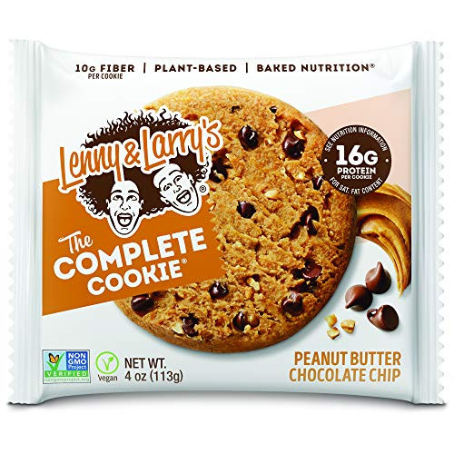 Brand: Lenny & Larry's  Color: Peanut Butter Chocolate Chip  Features:  THE COMPLETE COOKIE: A convenient source of plant-based proteins that taste downright delicious. Finally, you can finish a whole box of cookies without feeling guilty! SHOCKINGLY DELICIOUS: Satisfyingly firm and chewy, our delectable Peanut Butter vegan protein cookie is packed with plant-based protein, plenty of fiber and zero guilt. PLANT-BASED PROTEIN: With 16g of plant-based proteins and 10g of fiber, The Complete Cookie will not only satisfy your tummy and sweet tooth but also your peace of mind. INDULGE GUILT-FREE: Lenny & Larry's cookies are Non-GMO Project Verified, Vegan and Kosher-friendly. We don't use dairy, soy, eggs, high fructose corn syrup or artificial sweeteners in any of our Complete Cookies. 12 PACK: With your order, you will receive a box of 12 delicious 4oz cookies. What are you waiting for? Join in on the YUM!  Publisher: Lenny and Larrys  Details: Peanut Butter Chocolate Chip Chewy, creamy and moist, this wonderful cookie is a peanut butter lover's dream. The rich flavor of peanut butter infused in every cookie will satisfy you bite after bite.  Release Date: 07-05-2018