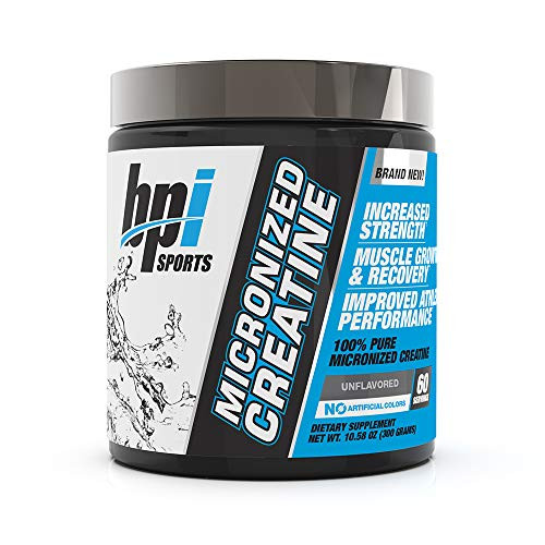 Brand: BPI Sports  Color: White  Features:  100% Pure creatine: BPI Sports micronized creatine is 100% pure creatine that helps to increase strength, reduce fatigue, improve lean muscle building, and supports Muscle Growth.* Superior absorption: micronized creatine is a 100% Pure creatine that has been micronized by reducing large Creatine molecules into smaller particles to optimize bioavailability and absorption.* Maximize pumps: our micronized creatine gives you the power, energy, stamina and endurance you need to optimize your complete workout. Plus, the added recovery benefits of 5g of 100% pure creatine helps to expedite recovery.* Increase strength & reduce fatigue: Creatine serves as an energy source in your muscle cells, helping to increase strength and reduce fatigue during intense training. Micronized creatine delivers 5g of Creatine quickly.* 100% MONEY BACK guarantee: BPI Sports takes pride in making superior workout formulas with high-quality ingredients. Our tested, trusted products are made in the USA and backed with a 100% MONEY BACK guarantee.*  Publisher: BPI Sports  Details: You don't need supplements. That's why they're called supplements – They simply supplement what you're already doing in the gym and kitchen. However, if you want to take your performance to the next level, a supplement that helps you maximize your pump, optimize recovery, improve stamina and endurance, and feel stronger during your workout is key. for those looking for the best CREATINE supplements, BPI Sports offers the ultimate, extra-strength product. Micronized creatine is a 100% Pure Creatine that has been micronized by reducing large Creatine molecules into smaller particles to optimize bioavailability and absorption. Our formula delivers 5g of this potent supplement with almost instant absorption to the muscle cells, providing increases in strength, power, and muscular energy.*Our unflavored powder can be easily mixed with any pre-, intra-, or post-workout products wit