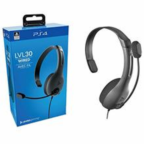 Brand: PDP  Features:  Compatible for use on the left or right ear Comfortable, lightweight build for long gaming sessions Flexible, noise-cancelling mic boom with flip-to-mute feature Hear chat loud and clear with a 30mm high-definition Mono driver Officially Licensed by Sony  Platform: PlayStation 4  Publisher: PDP  Details: Communicate with your team on a whole new level with the PDP gaming LVL30 for PS4! Designed for long gaming sessions, The LVL30 wired chat headset features a comfortable, lightweight build. No need to take a break from this chat headset with a design that makes it possible to wear the mono 30mm driver on either the right or left ear. Call out your commands through the flexible, noise-cancelling microphone, or flip it up for instant mic mute. With the on-ear volume control, you can make quick audio adjustments without missing a target.  Release Date: 15-08-2019