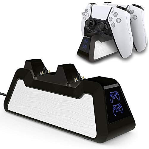 ★COMPATIBILITYS -- Specifically designed for PS5 controller, which can provides excellent performance when charging two PS5 controllers simultaneously. Save more time and get more fun.★SAFE AND FAST -- Build-in intelligent chip integration