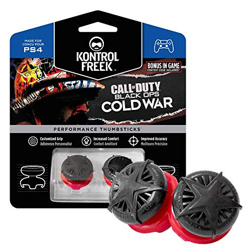 KontrolFreek Call of Duty: Black Ops Cold War Performance Thumbsticks for PlayStation 4 (PS4) and PlayStation 5 (PS5)   2 High-Rise, Convex   Black/Red
