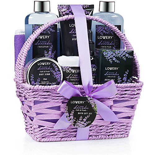 Home Spa Gift Basket, 9 Piece Bath & Body Set for Women and Men, Lavender & Jasmine Scent - Contains Shower Gel, Bubble Bath, Body Lotion, Bath Salt, Scrub, Massage Oil, Loofah & Basket