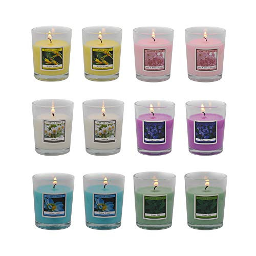 Set of 12 Scented Candles with 6 Fragrances, Natural Soy Wax Votive Candles for Party Dinner Yoga and Thanksgiving Christmas Gift