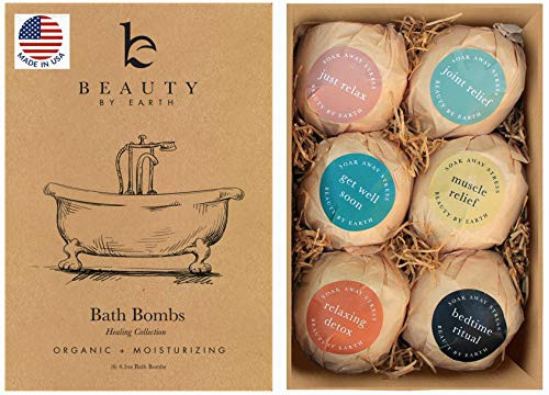 Bath Bombs Gift Set - 6 Large with Organic Shea Butter, Made in USA, Best Christmas & Birthday Gifts for Women, Bath Bomb Gifts for Her, Bath Bombs for Kids, with Salts, Clays and Essential Oils