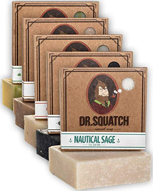 Dr. Squatch Men's Soap Variety Pack – Manly Scent Bar Soaps: Cool Fresh Aloe, Gold Moss, Pine Tar, Cedar Citrus, Alpine Sage – Handmade with Organic Oils in USA (5 Bars)