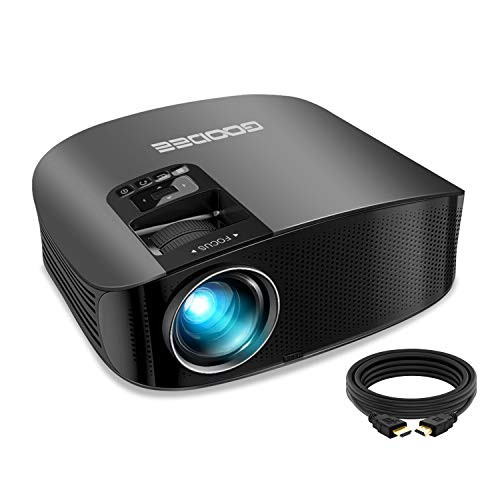 """2021 Upgrade HD Video Projector Outdoor Movie Projector, 1080P and 230"""" Support Home Theater Projector, Compatible with Fire TV Stick, PS4, HDMI, VGA, AV and USB, Black (YG600)"""