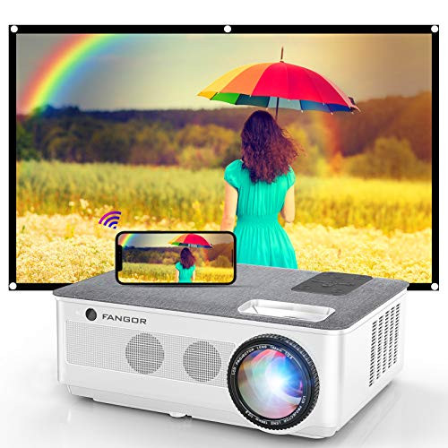 FANGOR 2021 WiFi Projector Bluetooth Support, 7500 Lux Movie Projector 4K Video Support, Home Projector Compatible with TV Stick, HDMI, USB, VGA, iOS/Android [120''Screen Included]