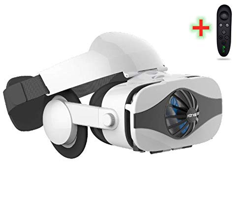 """LONGLU VR Headset Compatible for iPhone and Android Phone ,3D Virtual Reality VR Glasses with Blue Light, Fan Viewer for TV,Movies & Video Games IMAX, Support 4.0-6.3""""Screen Smartphone."""
