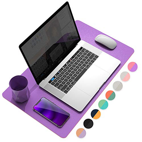 """YSAGi Multifunctional Office Desk Pad, Ultra Thin Waterproof PU Leather Mouse Pad, Dual Use Desk Writing Mat for Office/Home (23.6"""" x 13.7"""", Aconite Violet+Eosine Pink)"""