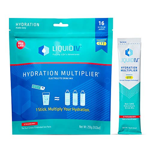 Liquid I.V. Hydration Multiplier, Electrolyte Powder, Easy Open Packets, Supplement Drink Mix (Strawberry)