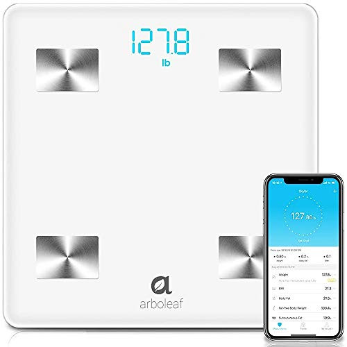 Arboleaf Digital Scale, Bluetooth Smart Scale Scales for Body Weight , Body Fat Monitor, 10 Key Composition, iOS Android APP, Unlimited Users, Auto Recognition, BMI, BMR