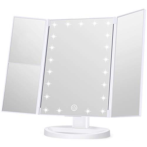 Wondruz Makeup Mirror Vanity Mirror with Lights, 1x 2X 3X Magnification, Lighted Makeup Mirror, Touch Control, Trifold Makeup Mirror, Dual Power Supply, Portable LED Makeup Mirror, Women Gift