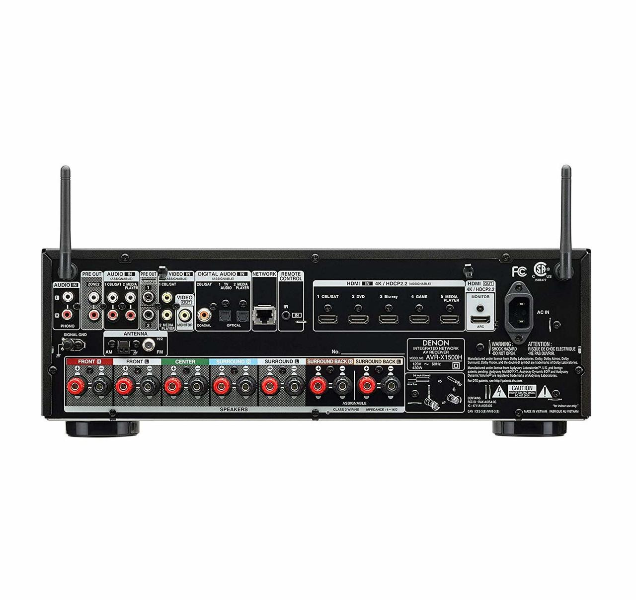 Denon® AVR-X1500H 7.2 Channel Home Theater Receiver