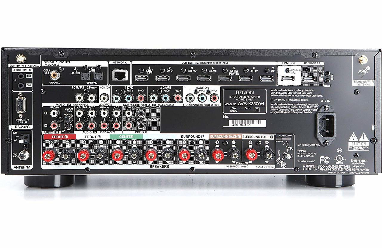 Denon® AVR-X2500H 7 2 Channel 4K Home Theater Receiver