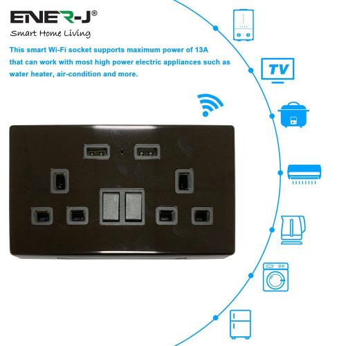 13A Smart WiFi Twin Wall Sockets With 2 USB Ports - Black