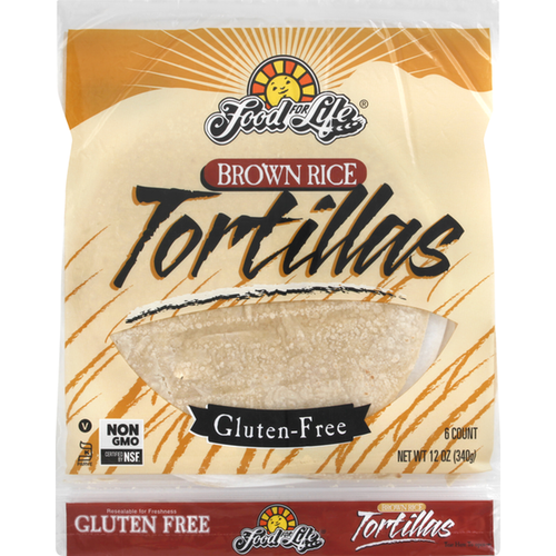 Food For Life Gluten-Free Whole Grain Brown Rice Tortillas (FROZEN)