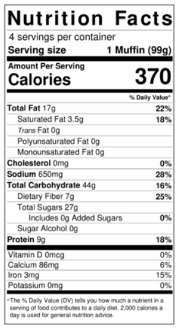 Flax 4 Life  Chunky Chocolate Chip Muffins (4/Pack)