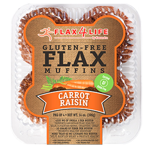 Flax 4 Life  Carrot & Raisin Muffins (4/Pack)