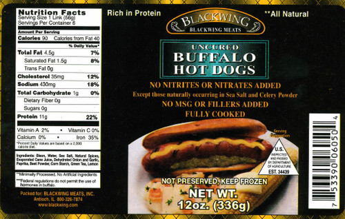 Blackwing Buffalo Hot Dogs, Uncured (6/Pack)