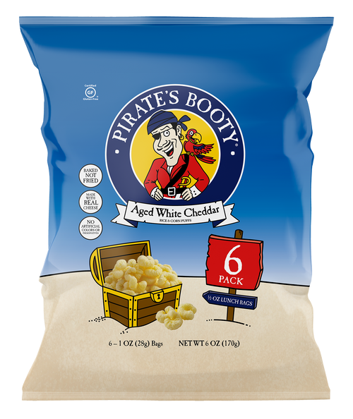 Pirate's Booty Aged White Cheddar Snack Sack 6 Pack