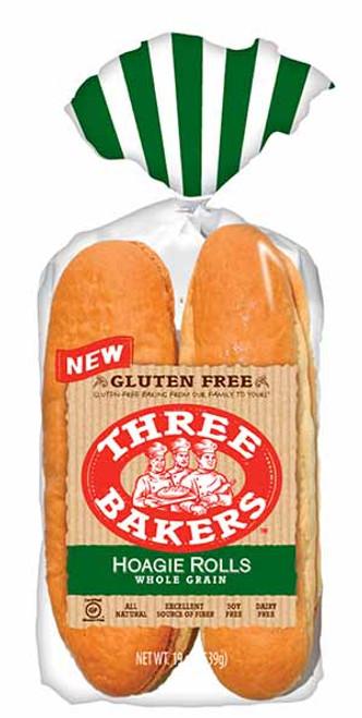 Three Bakers Gluten-Free Whole Grain Hoagie Rolls (FROZEN)