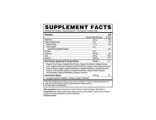 Ora Organic Vanilla Protein Powder