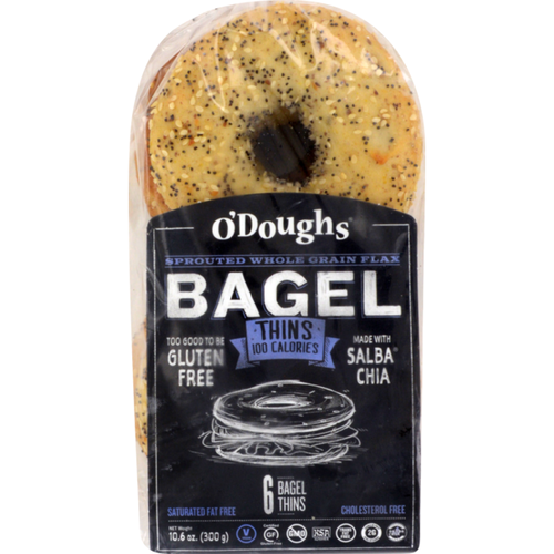 O'Doughs Thins Sprouted Whole Grain Flax Bagels