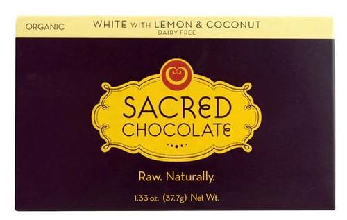 Sacred Vegan Chocolate White Chocolate with Lemon & Coconut Bar