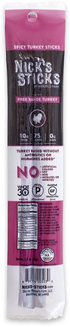 Nick's Sticks Free-Range Paleo Turkey Spicy Snack Sticks (2/Pack)