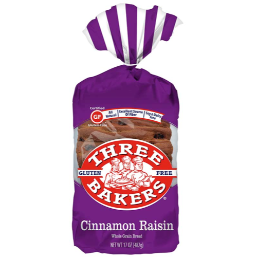 Three Bakers Gluten-Free Cinnamon Raisin Whole Grain Bread (FROZEN)