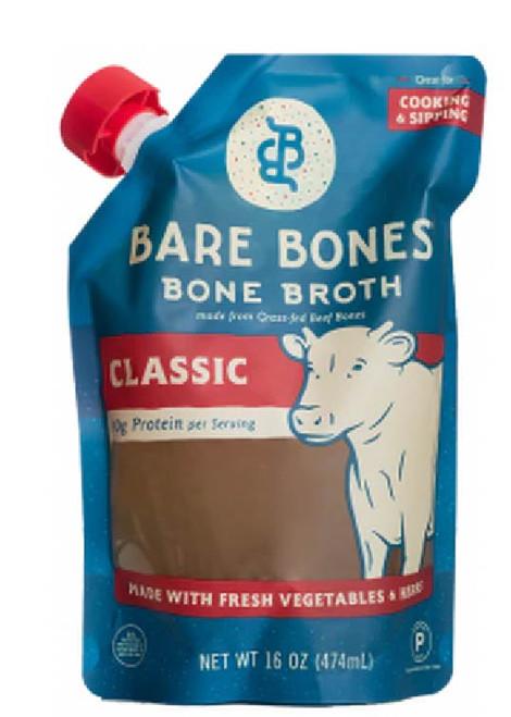 Bare Bones Paleo Grass Fed Beef Bone Broth, Classic