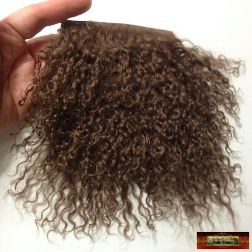 M01338 MOREZMORE Tibetan Lamb Fur Mini Sample 2x2 GOLDEN BROWN Doll Hair