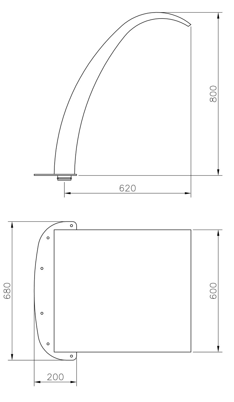 (20129) Arched Curtain W600 x H800mm Dimensions
