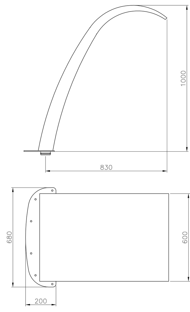 (20130) Arched Curtain W600 x H1000mm Dimensions
