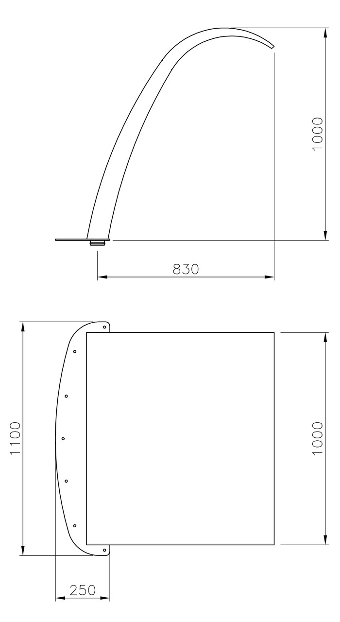 (20131) Arched Curtain W1000 x 1000mm Dimensions