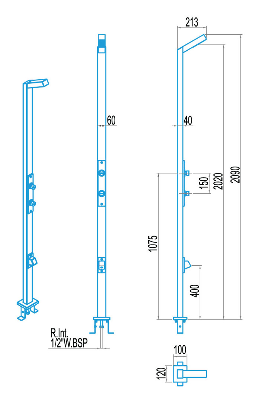 Single Head Rectangular Pool Shower with Double Valves & Footwash Dimension