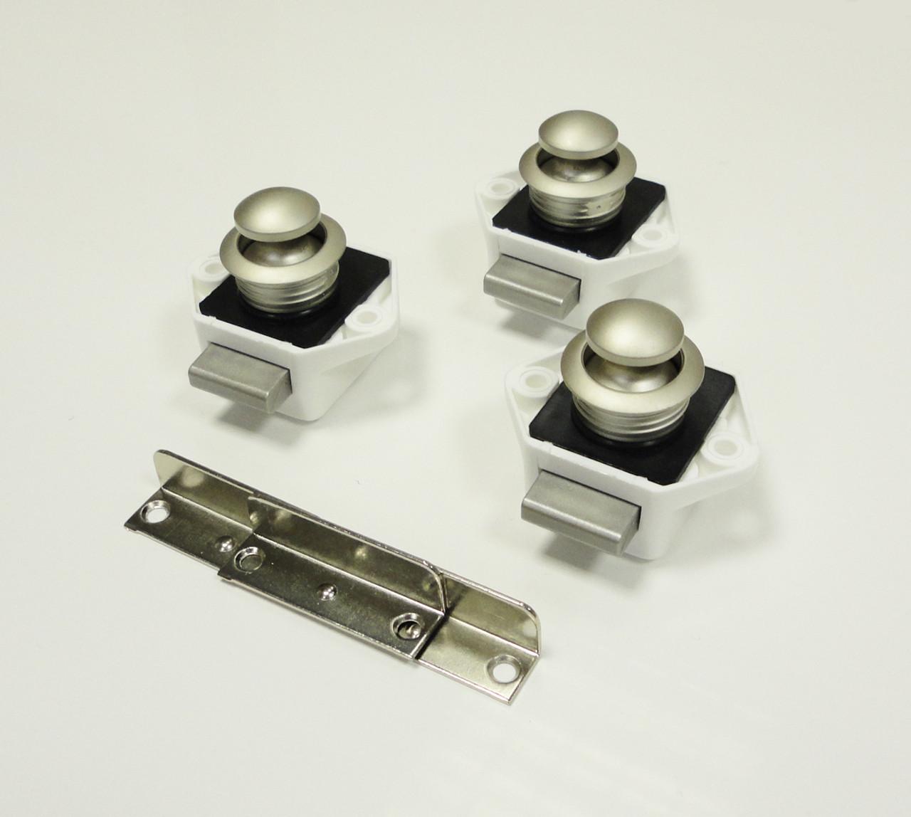 caravan door mini handles - Nickel & white backset
