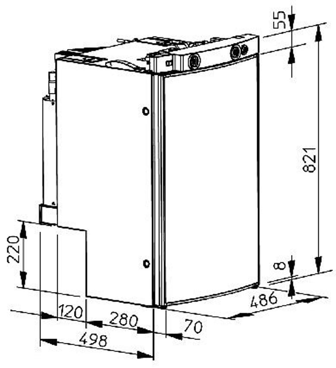 Dometic RMS8400 230v 12v LPG Gas Caravan Absorption Fridge  Dimensions