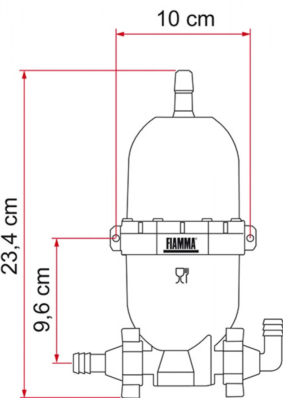 Fiamma A20 Universal Expansion Pump Tank Vertical Measurements