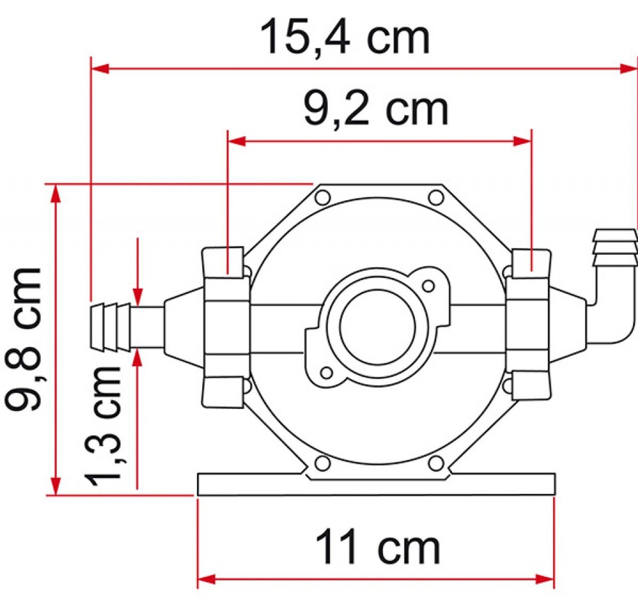 Fiamma A20 Universal Expansion Pump Tank Horizontal Measurements