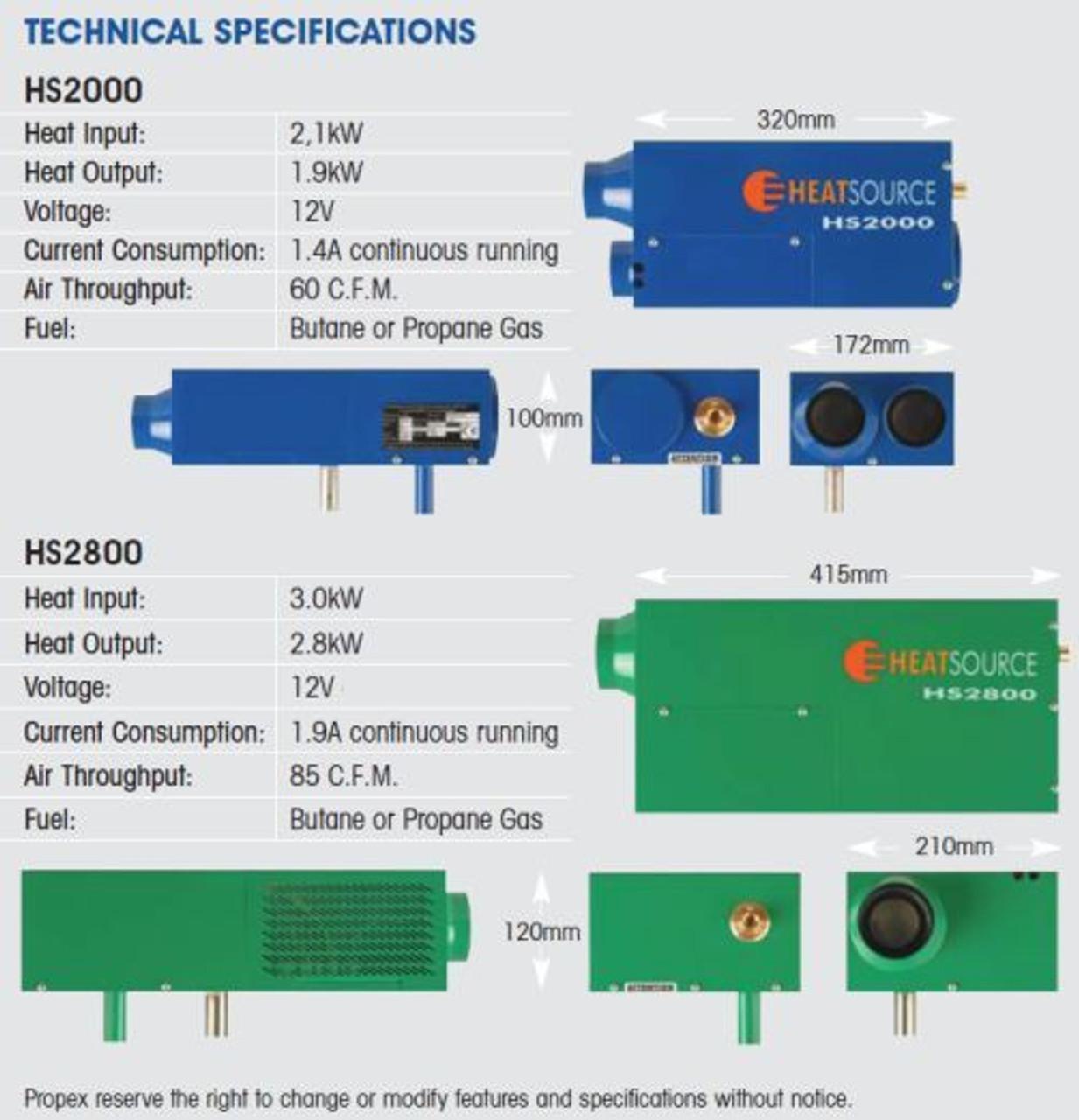 Propex Heatsource HS2000 12v LPG Gas Blown Air Heater