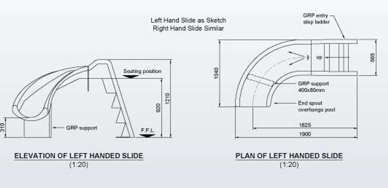 Mini Curved Swimming Pool Water Slide diagram / instructions