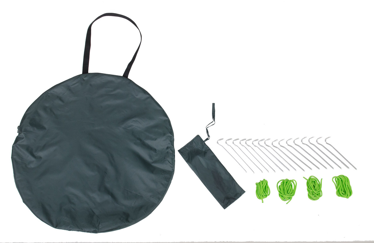 Fast erect fishing tent carry bag, pegs and guy ropes