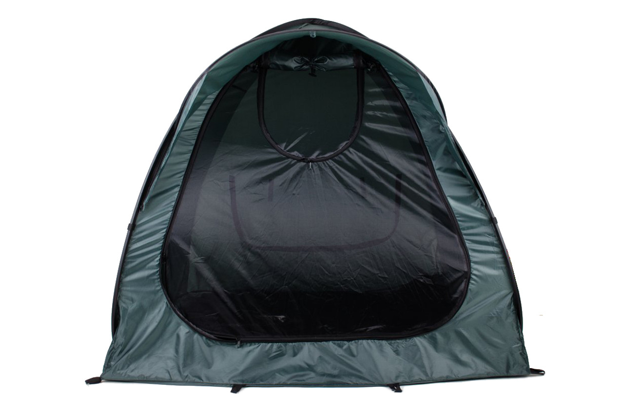 Front view of sports tent with fly screen door