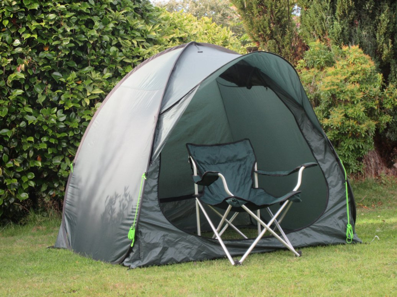 """Quick bivvy pop up angling tent with standard camping """"directors"""" chair"""